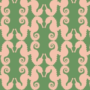 seahorse diamonds pink on ivy green