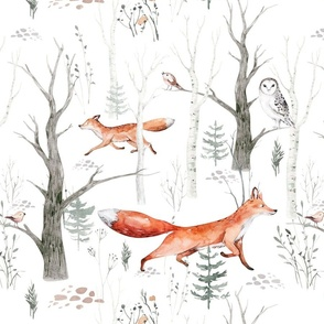 Scandinavian woodland animal pattern. Forest watercolor collection