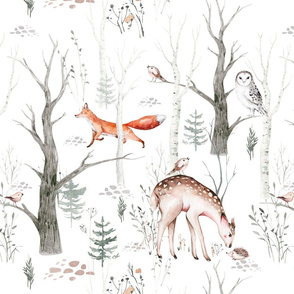 Scandinavian woodland animal pattern. Forest watercolor collection 2