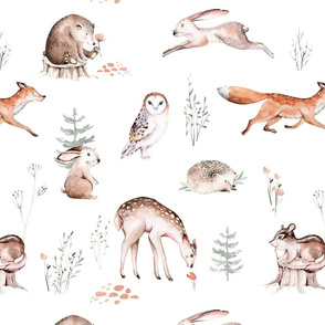 Scandinavian woodland animal pattern. Forest watercolor collection 13
