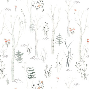 Scandinavian  watercolor forest 4