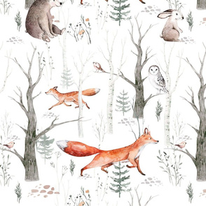 Scandinavian  watercolor forest  7