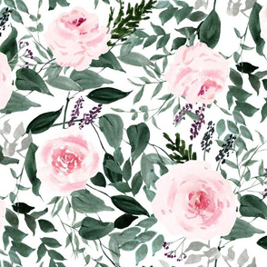 watercolor blue greenery roses garden-large