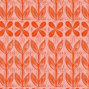 lino block flowers // Orange pink