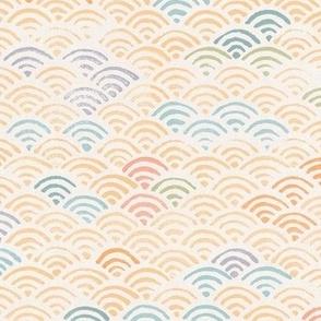 Ocean Waves Block Print Pattern (xl scale) | Ocean fabric, surf fabric, rainbow fabric, boho print for coastal decor, beach wrap.