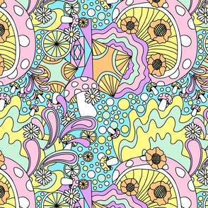 70s psychedelic pastel blue