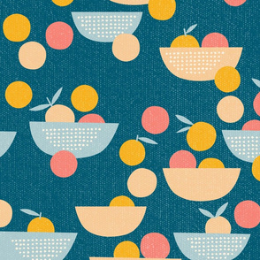 Bowl of Oranges, Peaches, and Pinks - deep teal