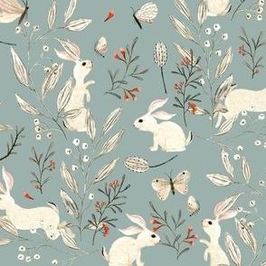Bunnies dusky blue