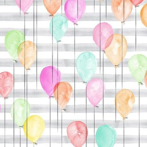 (small scale) multi balloons on grey stripes - watercolor birthday fabric C20BS
