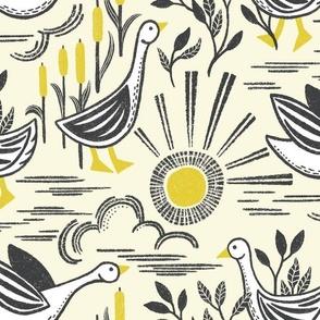 Sunshine Geese Illuminating Yellow Grey Large Scale by Angel Gerardo - Linocut Inspired