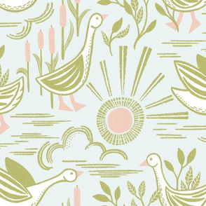 Sunshine Geese Pink Green Large Scale by Angel Gerardo - Linocut Inspired