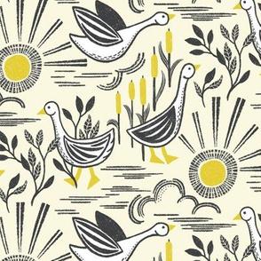 Sunshine Geese Yellow Gray by Angel Gerardo - Linocut Inspired