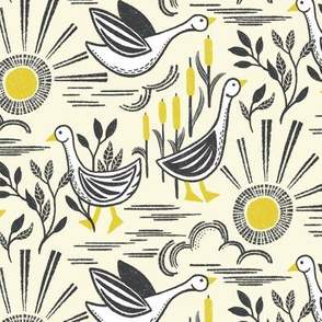 Sunshine Geese Illuminating Yellow Grey by Angel Gerardo - Linocut Inspired