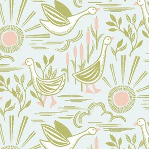 Sunshine Geese Pink Green by Angel Gerardo - Linocut Inspired