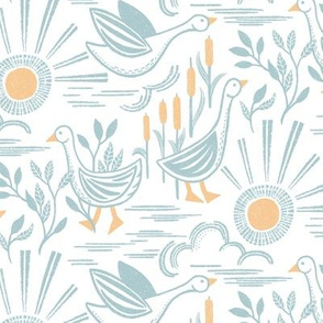Sunshine Geese by Angel Gerardo - Linocut Inspired
