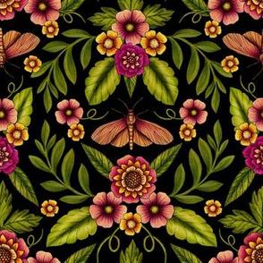 Dark Moths & Flowers - Moody Floral Pattern