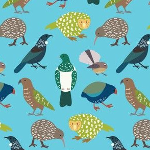 Cute New Zealand Birds - Now with Tui! BLUE