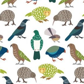 Cute New Zealand Birds - Now with Tui! WHITE