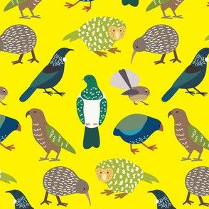 Cute New Zealand Birds - Now with Tui! YELLOW