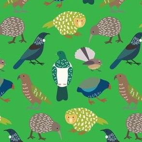 Cute New Zealand Birds - Now with Tui! GREEN