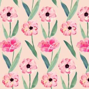 watercolor pink flower -orange