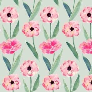 watercolor pink flower -green