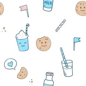 Cookies, milk and Milkshake