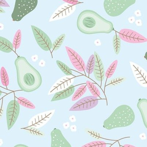 Sweet summer avocado boho leaves and botanical vegan branch and flowers  autumn garden creme soft blue pink mint green