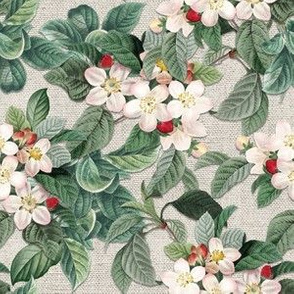 APPLE BLOSSOMS ON LINEN (TAUPE)