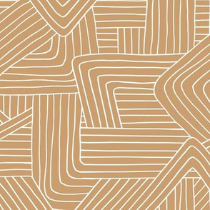 Little Maze stripes minimal boho waves Scandinavian grid style trend abstract geometric print moka cinnamon brown