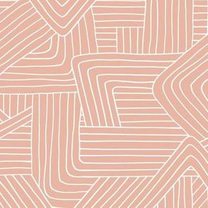 Little Maze stripes minimal boho waves Scandinavian grid style trend abstract geometric print soft blush apricot salmon pink