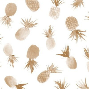 Earthy pineapples for sweet summer ★ watercolor neutral tropical fruits for modern boho home decor, bedding, nursery