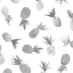 Silver pineapples for sweet summer - watercolor tropical pattern for modern home decor, bedding, nursery