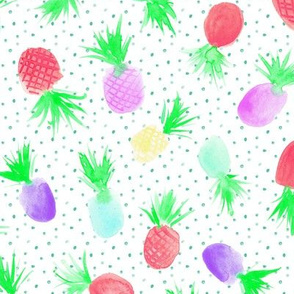 Candy pineapples for sweet summer ★ watercolor rainbow pineapples with dots for modern nursery
