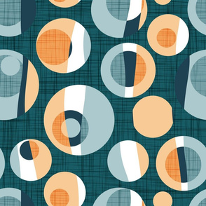 Normal scale // Rounded inspiration // green pine linen texture background orange tequila sunrise and blue malibu circles