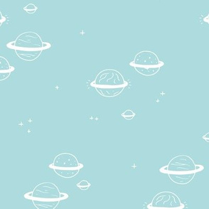 Little minimal planets universe and stars design nursery blue boys