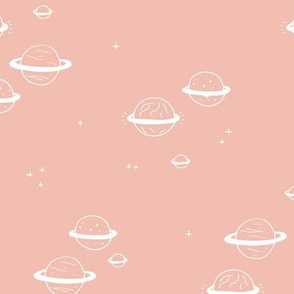 Little minimal planets universe and stars design nursery coral girls