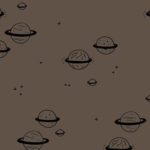 Little minimal planets universe and stars design nursery chocolate brown neutral