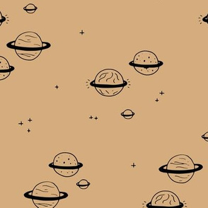 Little minimal planets universe and stars design nursery cinnamon yellow neutral