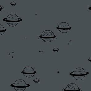 Little minimal planets universe and stars design nursery charcoal gray night