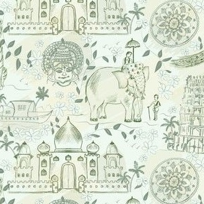 Indian Heritage Toile colour variation