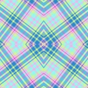 Pastel Kaleidoscopic Plaid in Aqua, Powdery Baby  Blue, Minty Green and Pink