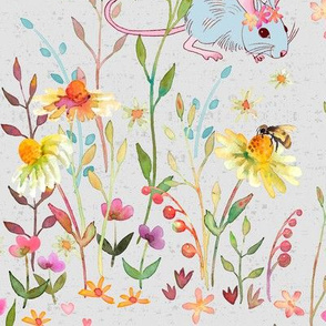 floral field on soft grey