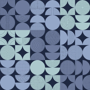 Stitched Mid-Century Modern Geometric Moons - Blues Large Scale