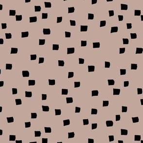 Little square ink spots checkered minimal boho design paint brush strokes abstract nursery latte beige