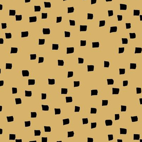 Little square ink spots checkered minimal boho design paint brush strokes abstract nursery ochre yellow neutral