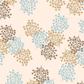 Berry branches pastel Rustic beige & Malibu blue Fabric