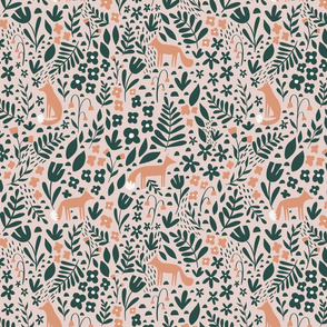 Woodland Fox  Meadow - pink and green
