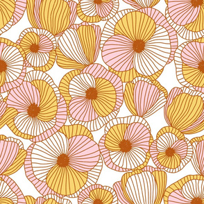 Beautiful abstract poppy flowers pattern in pink, yellow and gold