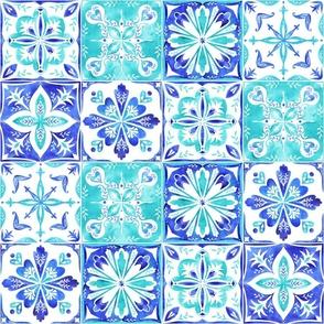 Blue Watercolor Morrocan Tiles